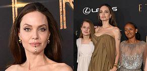 Posągowa Angelina Jolie pozuje Z PIĄTKĄ pociech na premierze najnowszego filmu (ZDJĘCIA)
