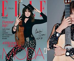 """Carla Bruni jako """"dziewczyna z gitarą"""" w sesji dla """"Elle"""""""