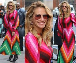 Julia Roberts nadaje kolorytu nowojorskim ulicom we wzorzystej sukni Valentino