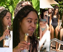 Córka Baracka Obamy z butlą szampana w ręku imprezuje nad basenem (FOTO)
