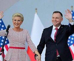 Biało-czerwona Agata Duda towarzyszy mężowi podczas spotkania z amerykańską Polonią (FOTO)