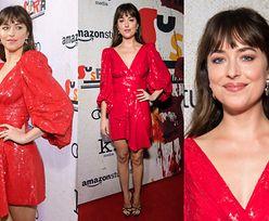 Promienna Dakota Johnson olśniewa w czerwonej sukience Celine