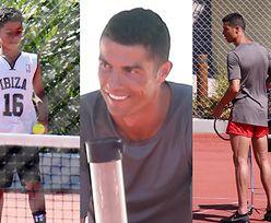 Cristiano Ronaldo uczy syna grać w tenisa na wakacjach w Grecji (ZDJĘCIA)