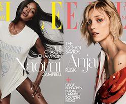 """Naomi Campbell i smutna Anja Rubik pozdrawiają z okładek """"Elle"""""""