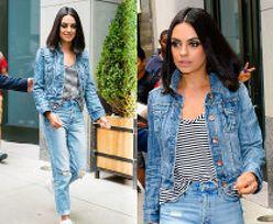 Wyluzowana Mila Kunis promuje nowy film w jeansowym zestawie