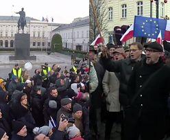"""Manifestanci pod Pałacem Prezydenckim: """"Andrzej Duda, oddaj dyplom. Marionetka Kaczyńskiego!"""