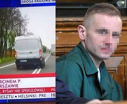 """Samochód TVP Info ściga więźniarkę z Marcinem P. i... łamie przepisy drogowe! """"Czy koś to widzi?"""""""