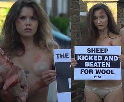"""Półnagie, zakrwawione członkinie PETA protestują w Londynie. """"Naga prawda: wełna rani!"""""""