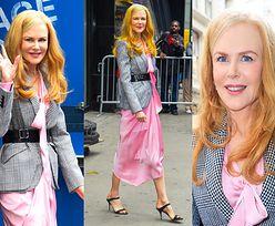 51-letnia Nicole Kidman zmierza na nagranie programu w różowej sukience