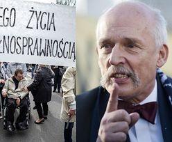 """Janusz Korwin-Mikke pogardliwie o niepełnosprawnych: """"Przez 40, 50 lat żyli bez zasiłków, więc MOGĄ ŻYĆ DALEJ"""""""