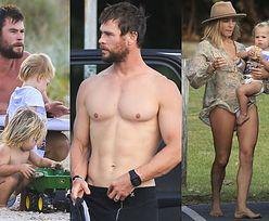 Chris Hemsworth z żoną i trójką dzieci na plaży! (ZDJĘCIA)