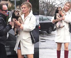 Krupa pozuje fotografom z psem