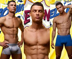 Wypieszczony Cristiano Ronaldo napina sześciopak w reklamie bokserek