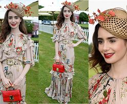 Romantyczna Lily Collins na rozgrywkach polo Cartier Queen's Cup