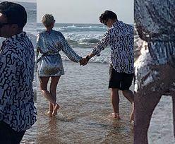 TYLKO NA PUDELKU: Ciężarna (?) Paulla obściskuje się z partnerem na portugalskiej plaży (ZDJĘCIA)