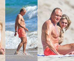 Rozgrzany słońcem Dolph Lundgren migdali się z o 38 lat młodszą narzeczoną na plaży w Malibu. Ładna z nich para? (ZDJĘCIA)