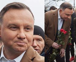 Szarmancki Andrzej Dudą rozdaje kwiaty na Krakowskim Przedmieściu z okazji Dnia Kobiet (ZDJĘCIA)