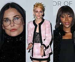 Gwiazdy brylują na paryskim Fashion Weeku: Demi Moore z córką, Lily-Rose Depp w sukience Chanel, poczochrana Kristen Stewart (ZDJĘCIA)