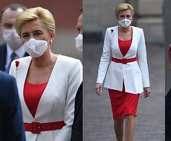 Patriotyczna Agata Duda świętuje Dzień Flagi w biało-czerwonej kreacji (FOTO)