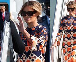 Melania Trump w tunice Gucci i balerinach po raz ostatni wysiada z pokładu Air Force One (ZDJĘCIA)