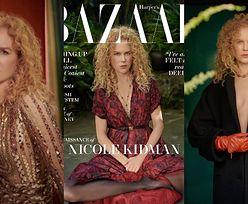 """Posągowa Nicole Kidman z burzą rudawych loków świdruje magnetycznym spojrzeniem z okładki """"Harper's Bazaar"""" (ZDJĘCIA)"""