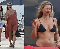 Kate Moss zaciąga się papieroskiem, opalając się na jachcie z córką i młodszym kochankiem (ZDJĘCIA)