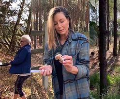 """""""Grzybiara"""" Małgorzata Rozenek wypatruje najlepszych okazów podczas rodzinnej wyprawy do lasu (ZDJĘCIA)"""