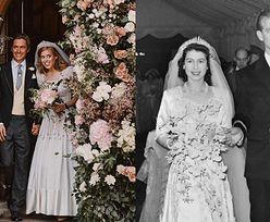 """Królowa Elżbieta II wypożyczyła księżniczce Beatrice WŁASNĄ SUKNIĘ i biżuterię! """"Tę tiarę miała na własnym ślubie w 1947 roku"""""""