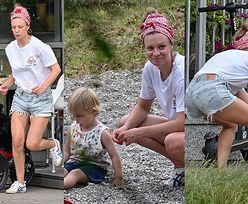 Wysportowana Magdalena Boczarska goni uciekającego podczas spaceru syna (ZDJĘCIA)