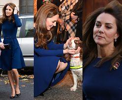 Szczupła księżna Kate spotyka się z ofiarami ataku terrorystycznego i tuli policyjnego psa (ZDJĘCIA)