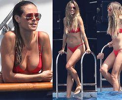44-letnia Heidi Klum w czerwonym bikini na jachcie z 31-letnim chłopakiem (ZDJĘCIA)