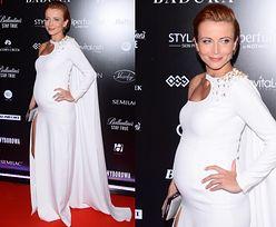 Ciężarna Zielińska w białej sukni na ściance. Chce być jak Beyonce? (ZDJĘCIA)