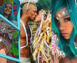 Dorodna, PRAWIE NAGA Rihanna w kolorowych piórach imprezuje na Barbadosie (ZDJĘCIA)