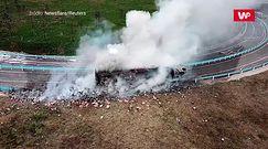 Wybuchowy zakręt. Wypadek ciężarówki z fajerwerkami