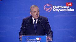 Grzegorz Schetyna na konwencji PO. Niespodziewane nawiązanie do Olgi Tokarczuk