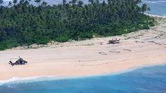 Wielki napis SOS na plaży prawdopodobnie uratował im życie