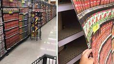 Fototapety zamiast produktów w sklepach. Szokujące zdjęcia z Wielkiej Brytanii i USA