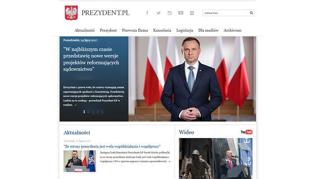 Tak teraz wygląda strona internetowa prezydenta