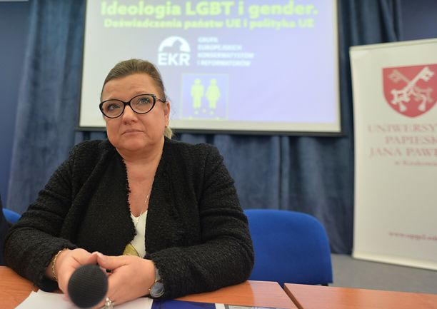 Beata Kempa, a Polish MEP, seen during the debate 'LGBT ideology and gender. Experience EU countries and EU policy', inside the Pontifical University of John Paul II in Krakow. On Monday, December 9, 2019, in Krakow, Poland. (Photo by Artur Widak/NurPhoto via Getty Images)