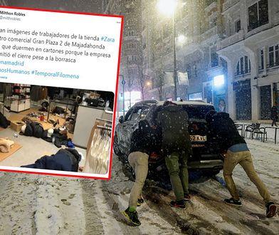 Ogromne opady śniegu w Hiszpanii. Ponad 100 osób utknęło na noc w centrum handlowym
