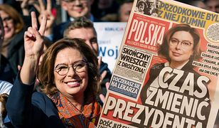 Materiały kampanijne sztabu Małgorzaty Kidawy-Błońskiej. Gazetka przypomina popularne brukowce