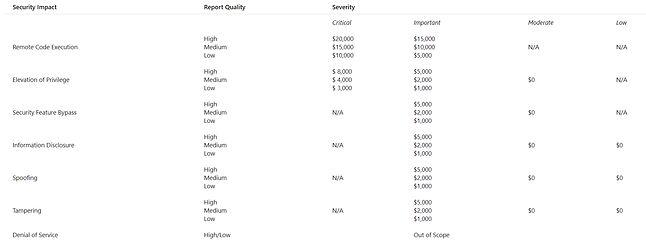 Rozkład nagród zależnych od rodzaju wykrytych luk, źródło: Microsoft.