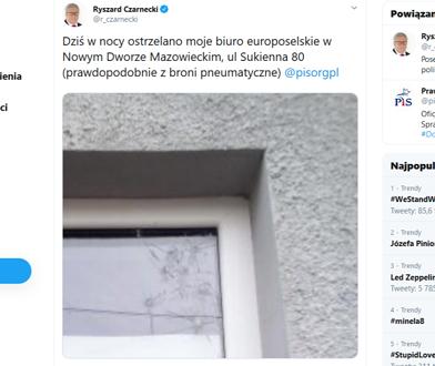 Europoseł PiS Ryszard Czarnecki: w nocy ostrzelano moje biuro w Nowym Dworze Mazowieckim