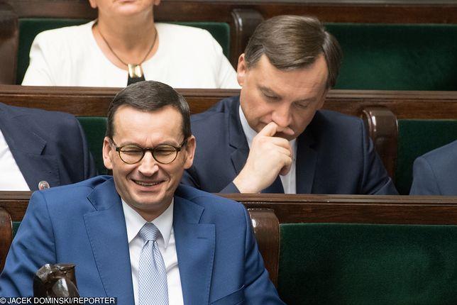 Wybory parlamentarne. Mateusz Morawiecki i Zbigniew Ziobro w Sejmie