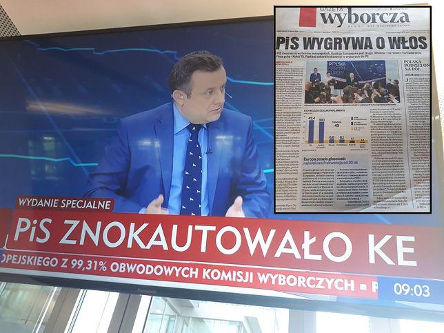 """Wyniki wyborów do Parlamentu Europejskiego w TVP i w """"Gazecie Wyborczej"""" zostały przedstawione zupełnie inaczej"""