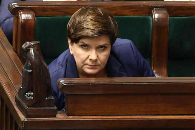 Premier Beata Szydło w ławach rządowych w Sejmie