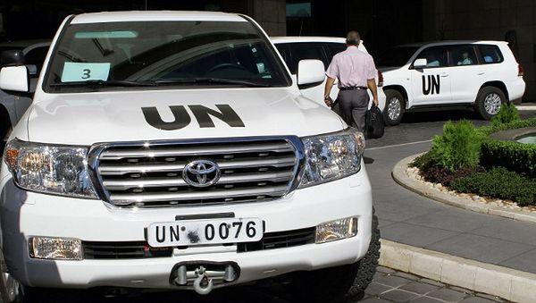 Pojazdy ONZ w Damaszku