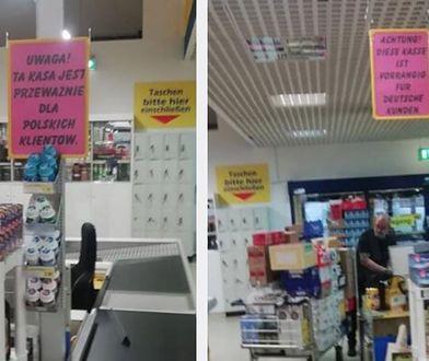 """""""Przeważnie dla polskich klientów"""" - taki komunikat przy kasie zdenerwował wielu Polaków"""