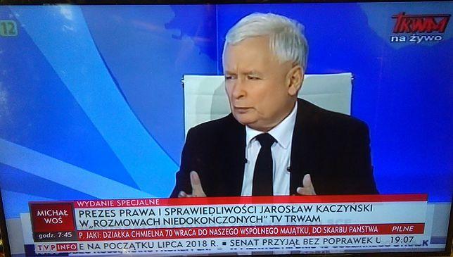 Jarosław Kaczyński w TV Trwam. Wywiad transmitowała TVP Info