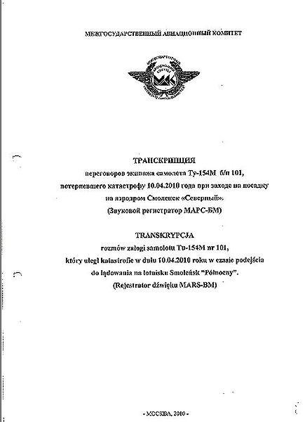 Zobacz zapis z czarnych skrzynek rządowego Tu-154